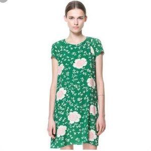 Zara green floral mini dress